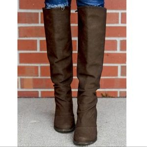 Chocolate Brown Distressed Tall Knee High Boots